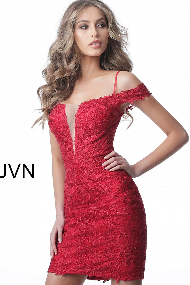 JVN2291 Red Off the Shoulder Fitted Lace Short Dress
