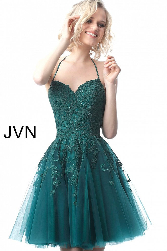 JVN2298 Green Sweetheart Neckline Fit and Flare Cocktail Dress