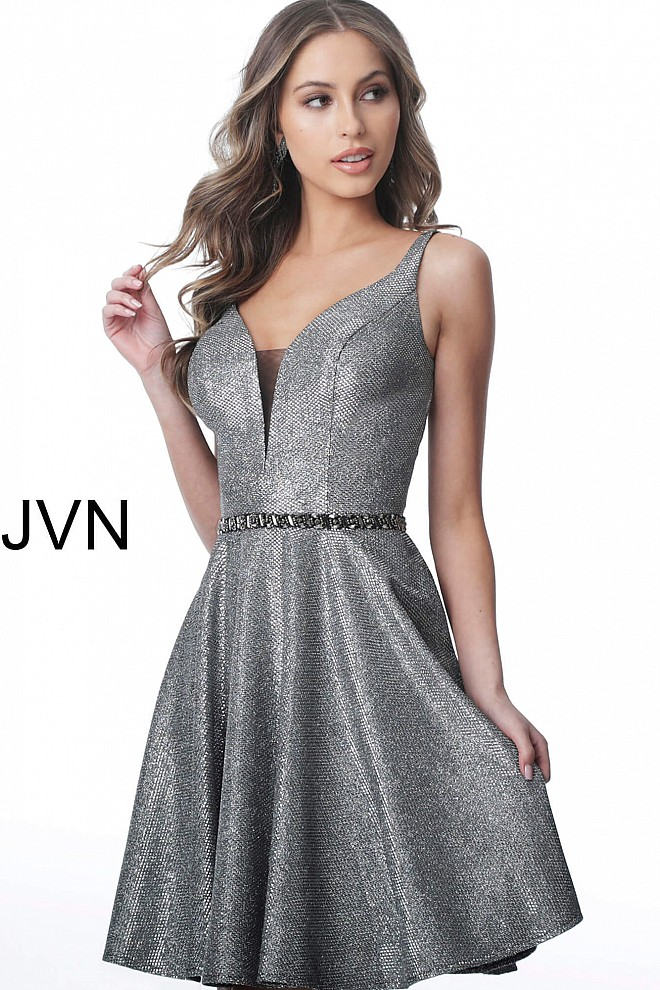 f01cac54ff7 Gunmetal short fit and flare sleeveless plunging neck dress jvn2299.