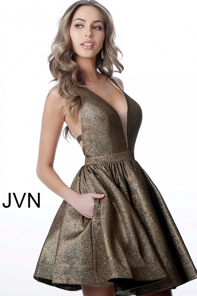 342a04bf2a1 Bronze short fit and flare open back metallic homecoming dress jvn2364.
