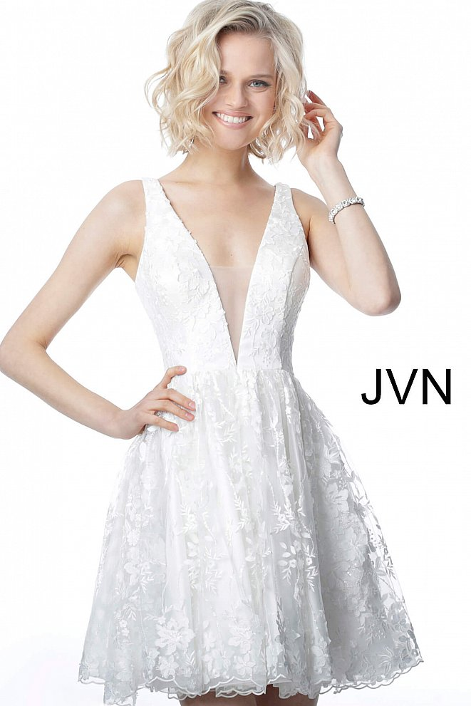 JVN2434 White Fit and Flare Low V Neck Homecoming Dress