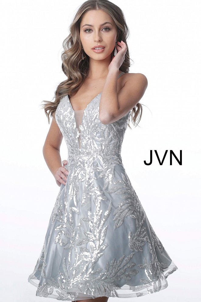 JVN2451 Silver Plunging Neckline Tie Back Homecoming Dress