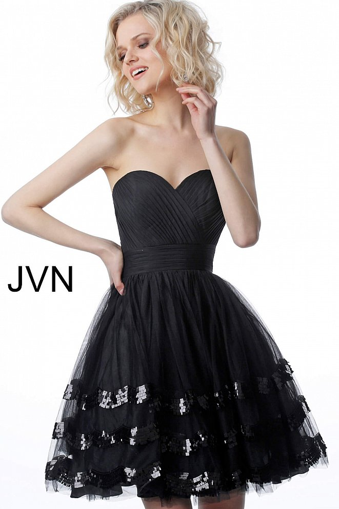 JVN2462 Black Strapless Sweetheart Neckline Cocktail Dress