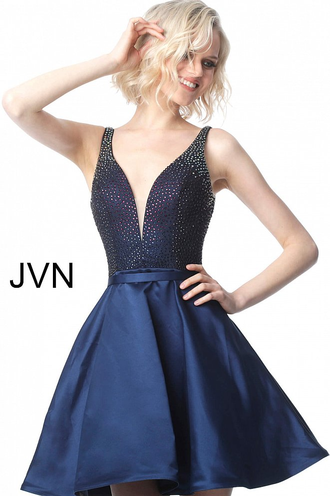 JVN2470 Navy Embellished Bodice Fit and Flare Short Dress