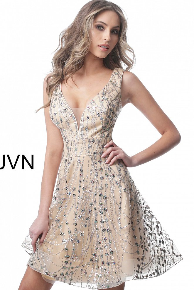 JVN2473 Champagne Fit and Flare Plunging Neck Homecoming Dress
