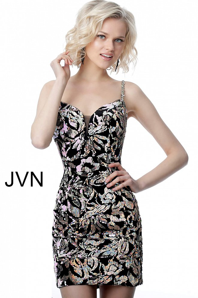 JVN24731 Black Multi Plunging Neckline Embellished Short Dress