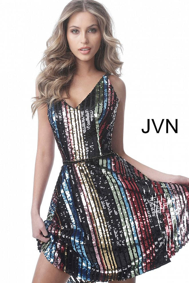 JVN2540 Multi Sequin V Neck Fit and Flare Short Dress