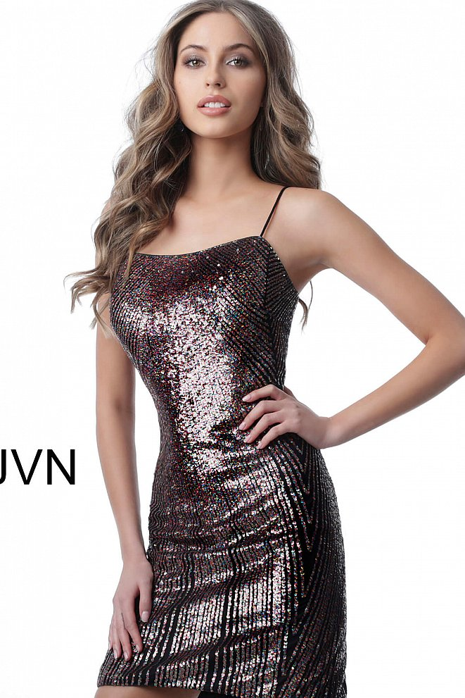 JVN2588 Black Multi Criss Cross Back Fitted Cocktail Dress