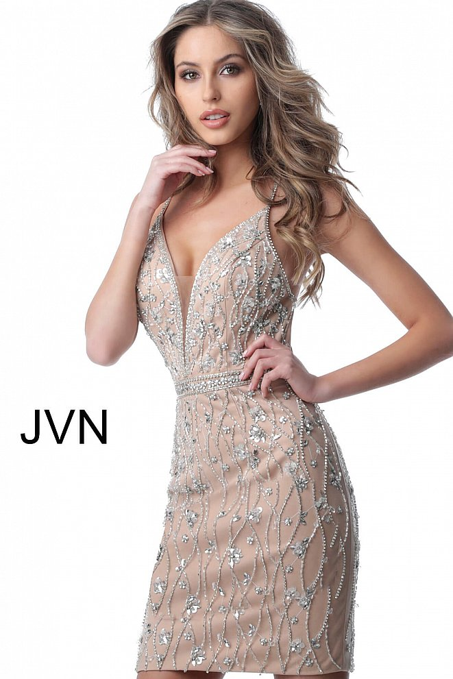 JVN2601 Ivory Nude Spaghetti Straps Embellished Cocktail Dress