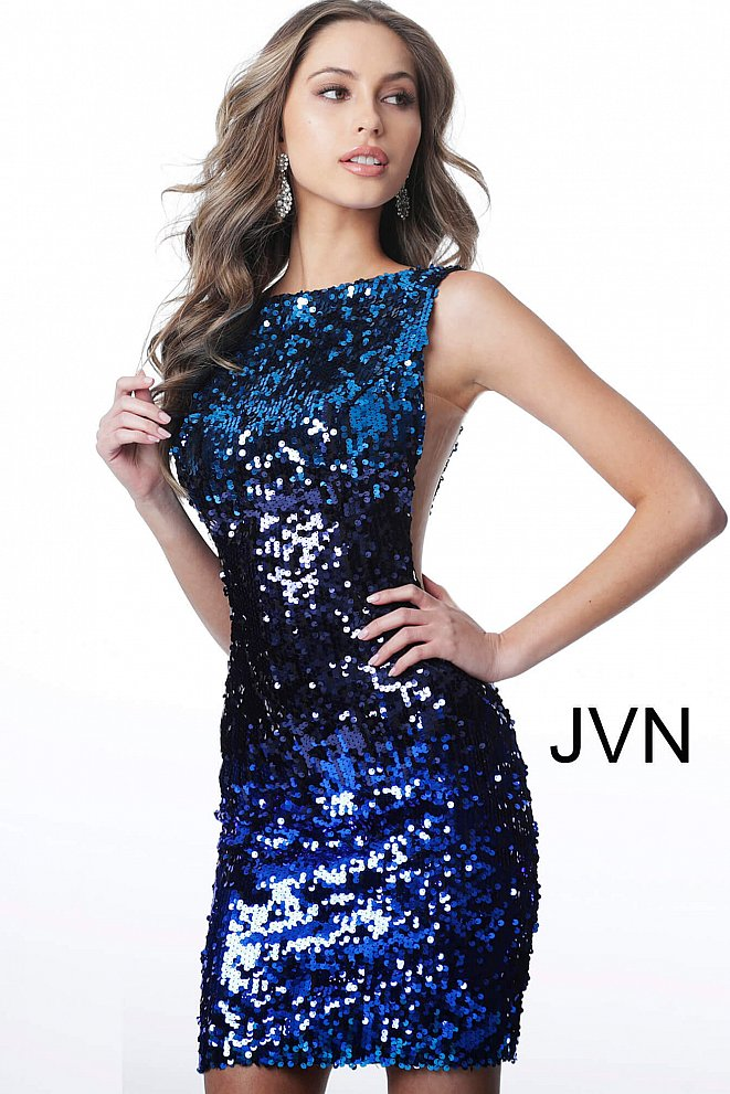 JVN3191 Blue Multi Backless Fitted Homecoming Dress