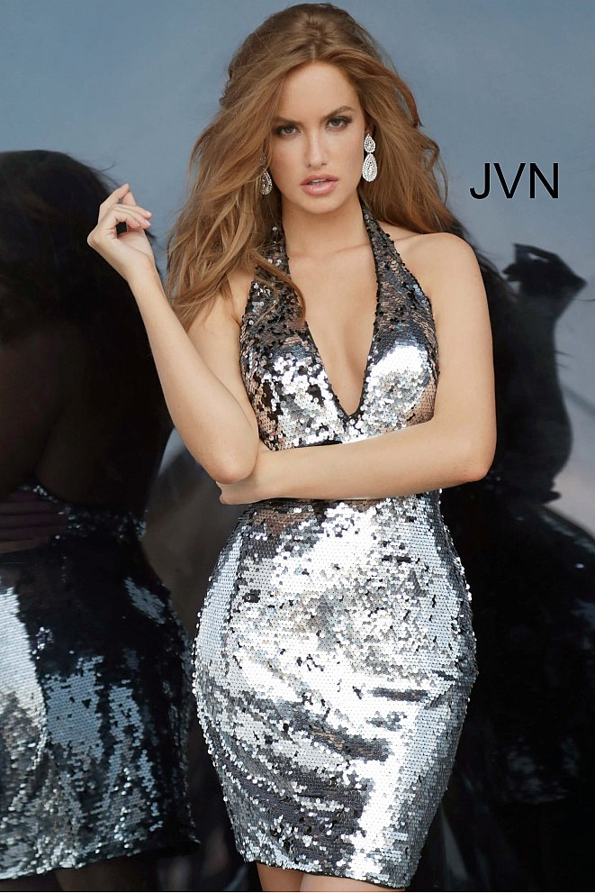 JVN3305 Black Silver Halter Neckline Sequin Cocktail Dress