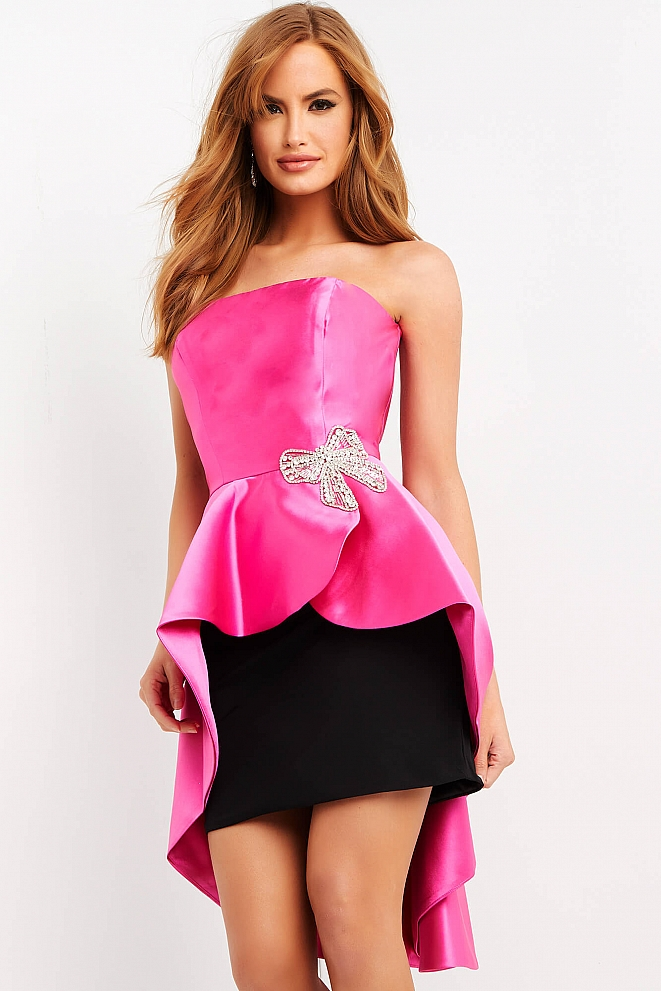JVN3759 Fuchsia Black strapless Peplum Cocktail Dress