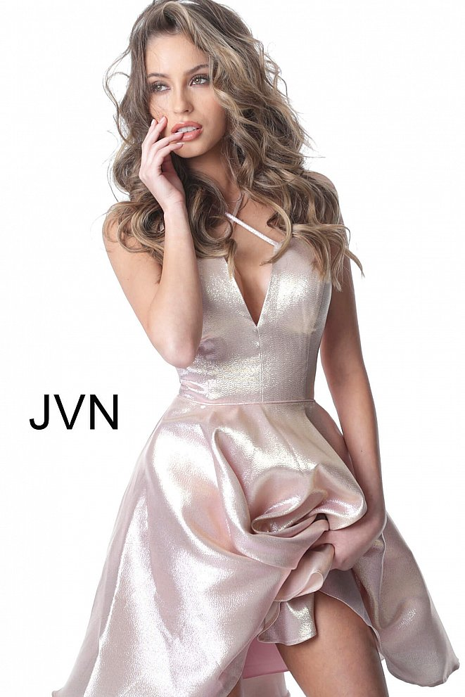 JVN3780 Blush Fit and Flare Spaghetti Straps Short Dress