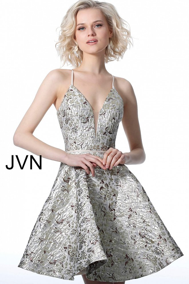 JVN3821 Gold Spaghetti Straps Plunging Neck Homecoming Dress