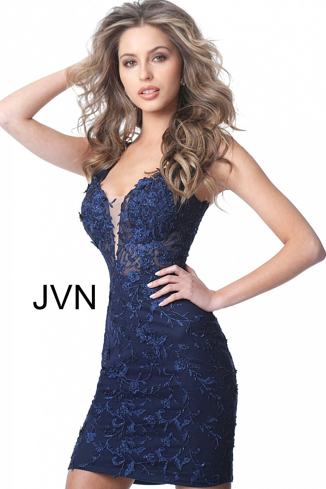 Navy Fitted Plunging Neckline Homecoming Dress JVN4270