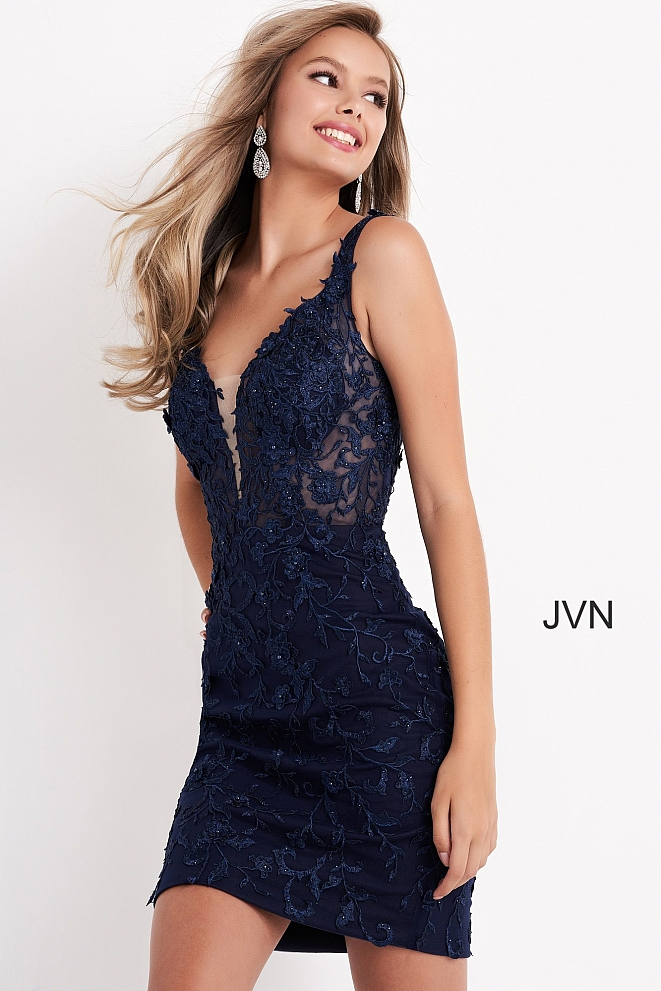 JVN4270 Navy Embellished Plunging Neck Cocktail Dress