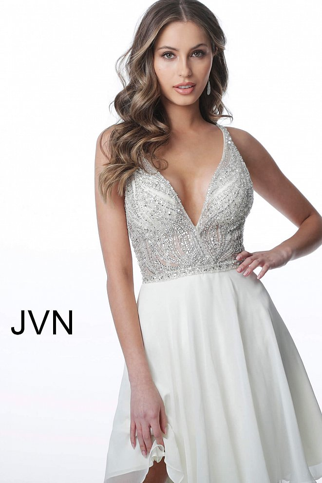 JVN4278 Ivory Embellished Bodice Low V Neck Homecoming Dress
