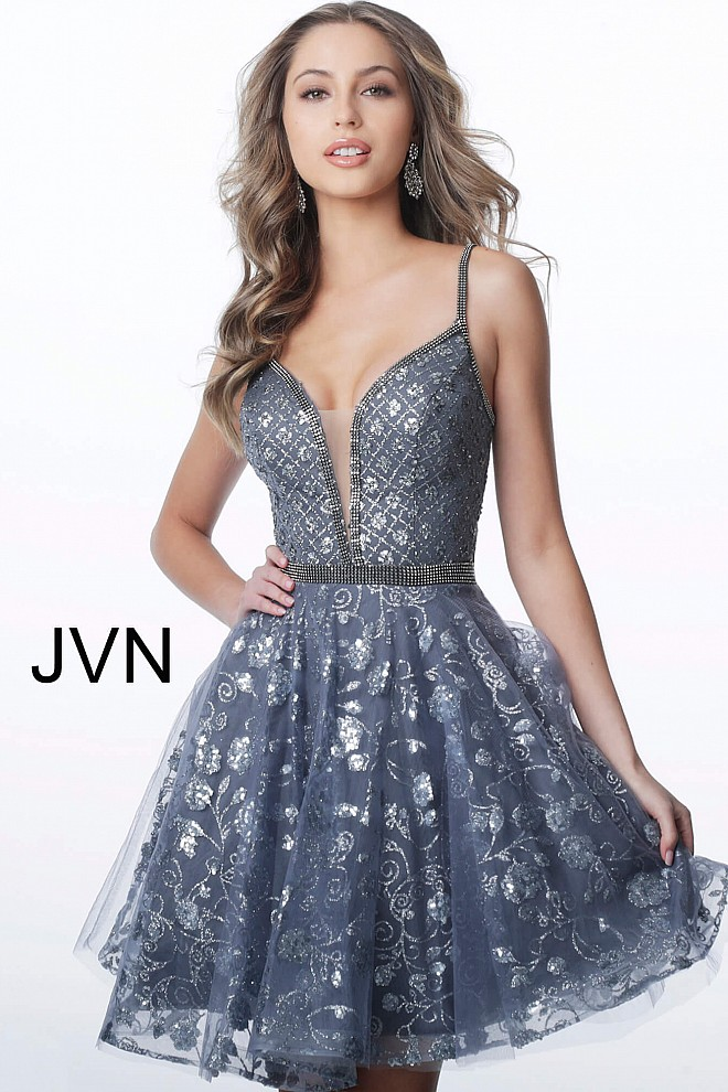 Charcoal Fit and Flare Plunging Neckline Homecoming Dress JVN4298