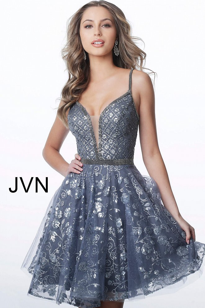 JVN4298 Charcoal Fit and Flare Plunging Neckline Homecoming Dress