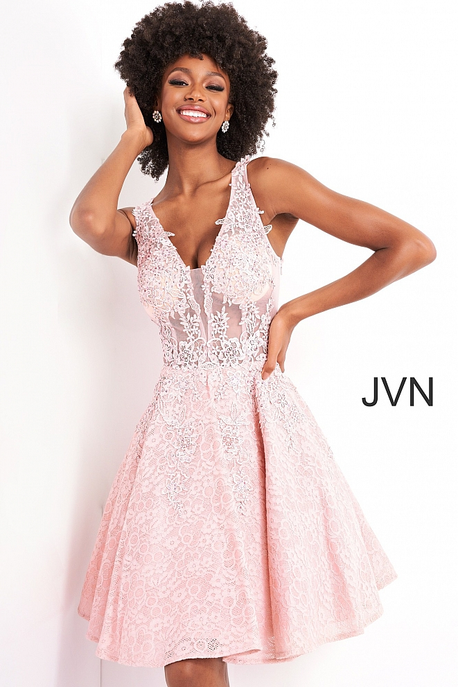 JVN45264 Pink Fit and Flare Embellished Low V-Neck Short Dress