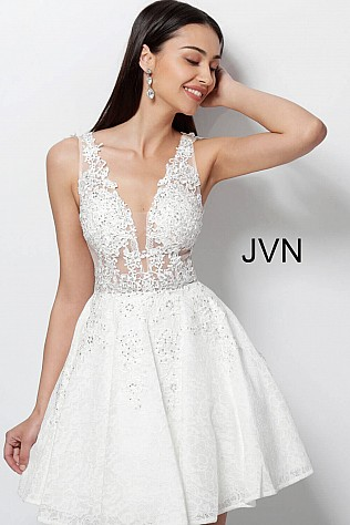White Fit and Flare Embellished Low V-Neck Short Dress JVN45264