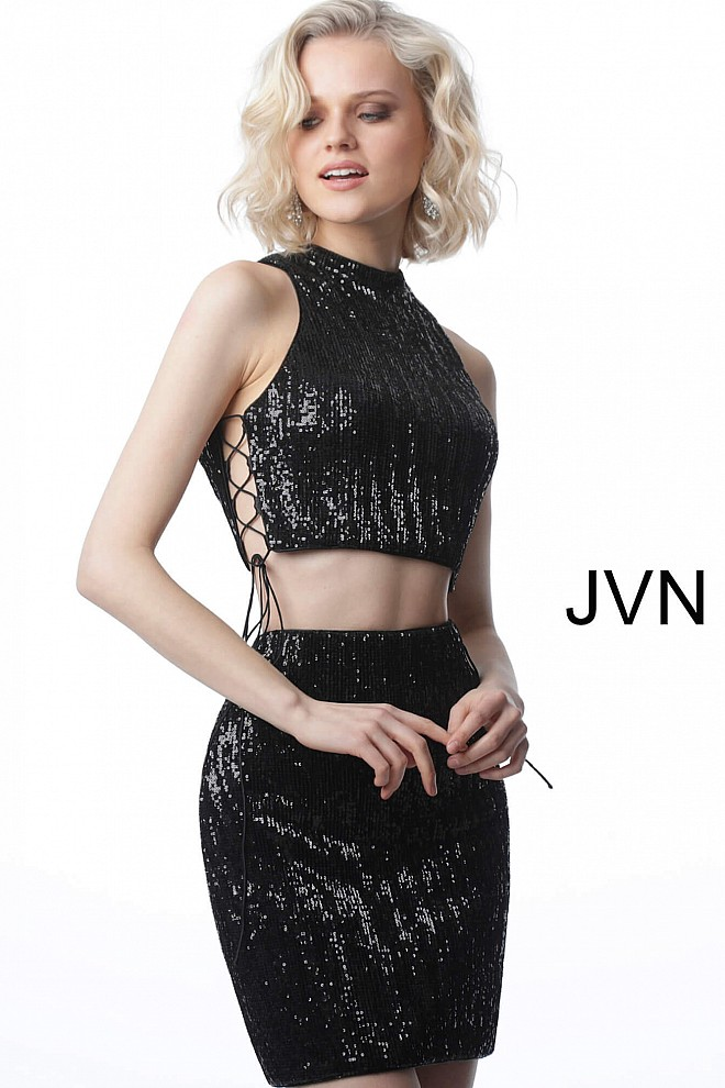Black Sequin Two Piece Fitted Cocktail Dress JVN4692
