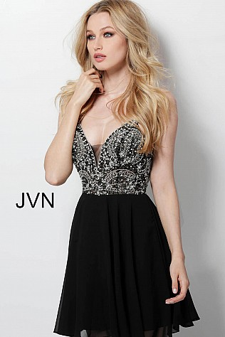 Black Embellished See Through Bodice Homecoming Dress JVN47310