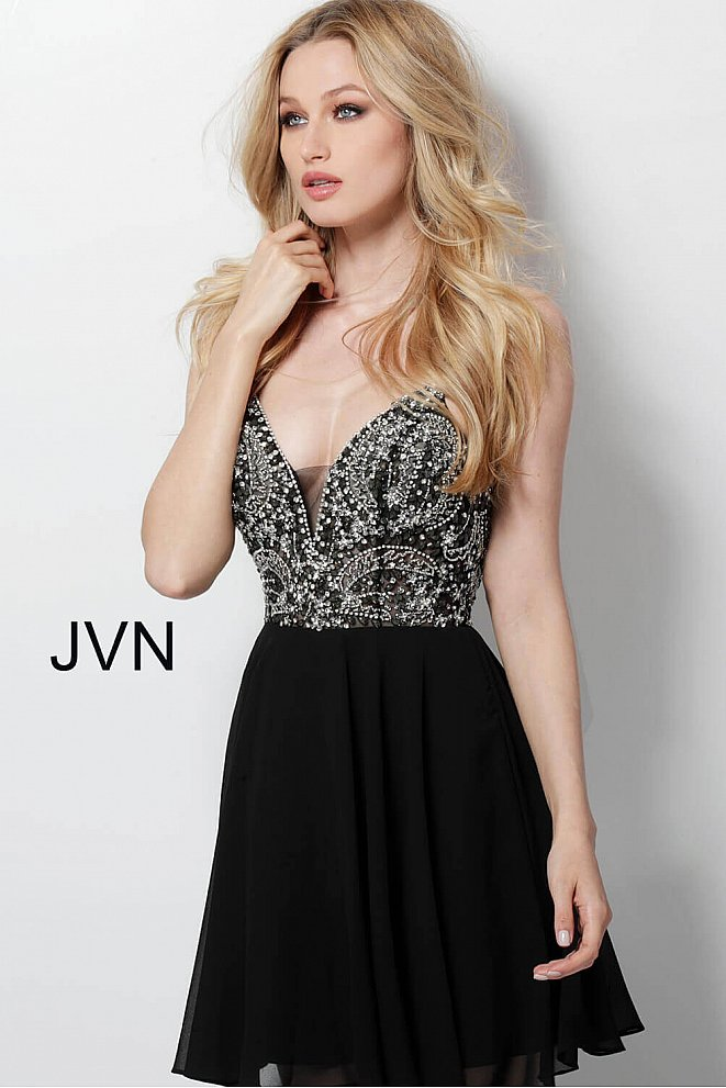 JVN47310 Black Embellished See Through Bodice Homecoming Dress