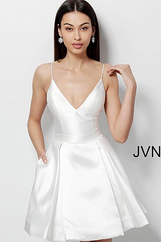 White Fit and Flare Open Back Homecoming Dress JVN47315