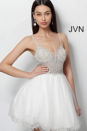 Ivory Sleeveless Fit and Flare Tulle Dress JVN47550