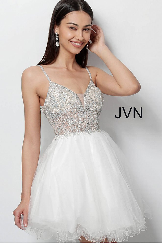 JVN47550 Ivory Sleeveless Fit and Flare Tulle Dress