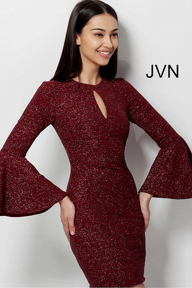JVN51432 Wine Fitted Long Bell Sleeves Cocktail Dress