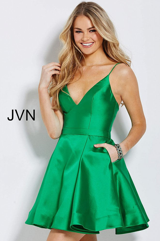 JVN52141 Green Spaghetti Straps Fit and Flare Short Dress