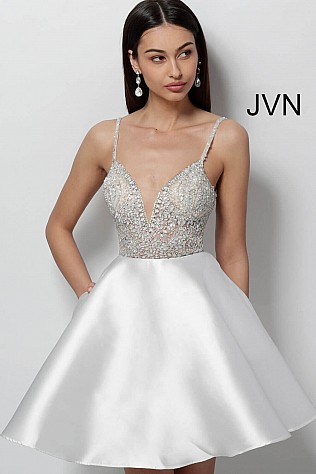 White Fit and Flare Embellished Bodice Short Dress JVN53168