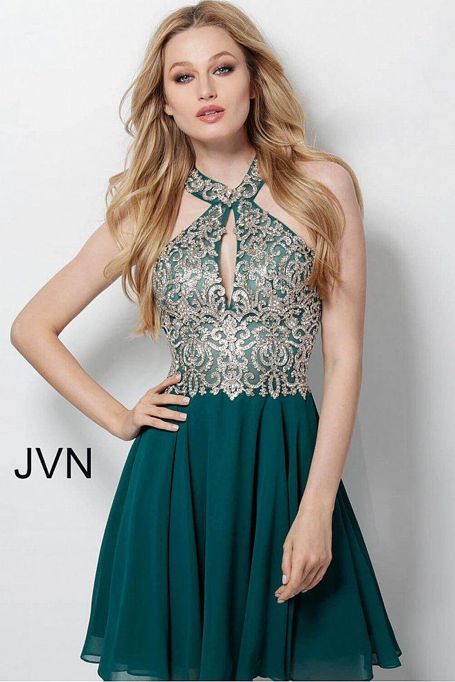 JVN53177 Hunter Chiffon Embroidered High Neck Bodice Short Dress