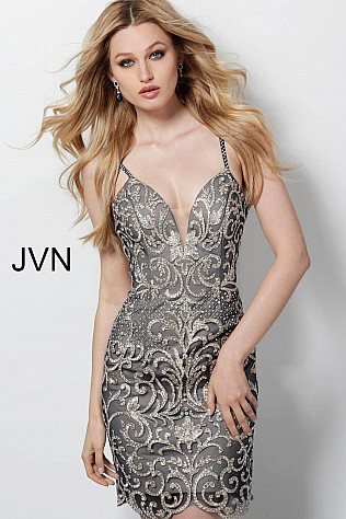 Navy Beaded Fitted Spaghetti Straps Short Dress JVN53184