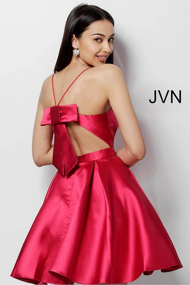 JVN53202 Red Open Back Fit and Flare Homecoming Dress