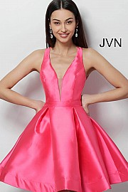 Fuchsia Fit and Flare Open Back Cocktail Dress JVN53360