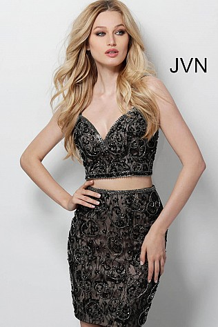 Black Embellished Fitted Two Piece Short Dress JVN55244