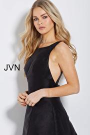 Black Backless Boat Neck Short Dress JVN55519