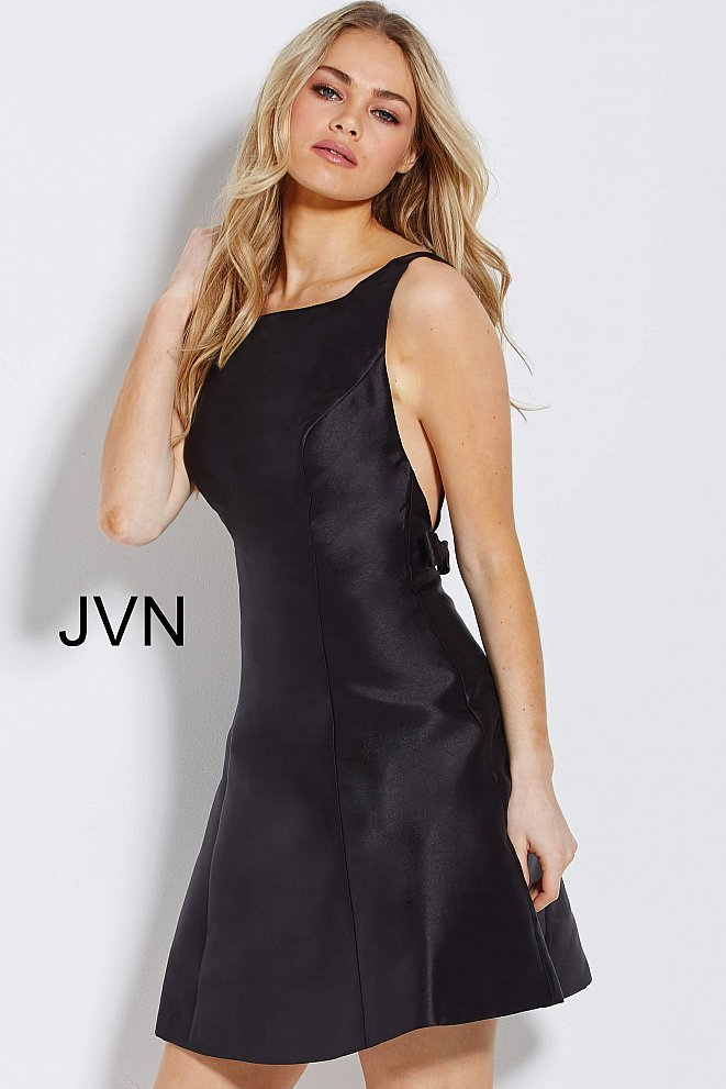JVN55519 Black Backless Boat Neck Short Dress