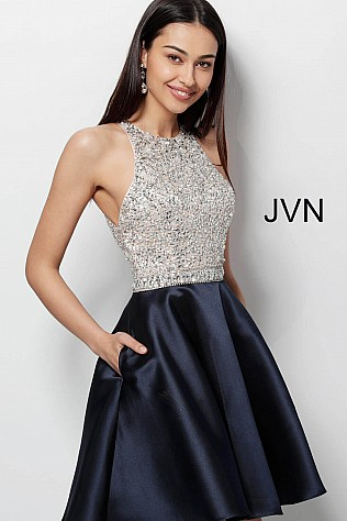 Black Embellished Bodice Sleeveless Short Dress JVN57782