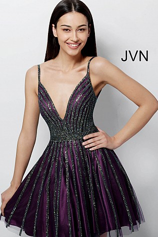 Purple Beaded Fit and Flare Low V Homecoming Dress JVN58095