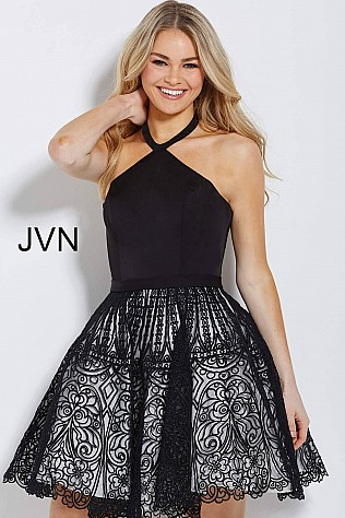 Black and White Fit and Flare Halter Neck Short Dress JVN58127