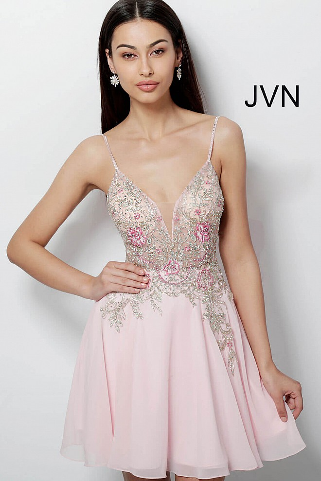 Pink Embellished Bodice Chiffon Homecoming Dress JVN61629
