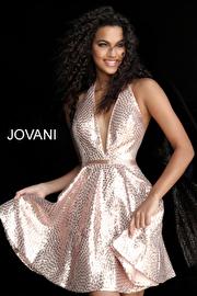 Jvn Blush Fit and Flare Backless Halter Neck Short Dress JVN62080