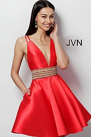Jvn Red Plunging Neckline Embellished Belt Homecoming Dress JVN62285
