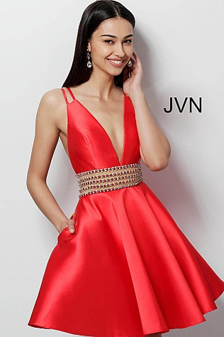 Red Plunging Neckline Embellished Belt Homecoming Dress JVN62285