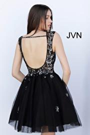 Black Embellished Backless Fit and Flare Short Dress JVN62620