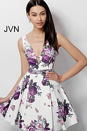 Jvn White Floral Print Embellished Belt Fit and Flare Homecoming Dress JVN62625